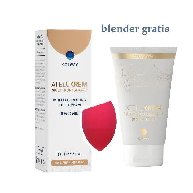 Colway Atelokrem Multi-Korygujący BB+CC+DD cera jasna Light Beige + blender 50ml